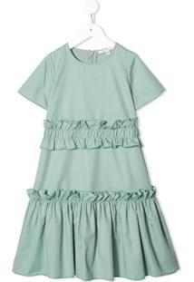 Owa Yurika Vestido Com Amarração E Acabamento De Babados - Verde