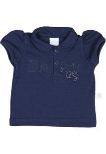 Camiseta Bebê Pólo Malha Cotton Baby - Feminino-Marinho