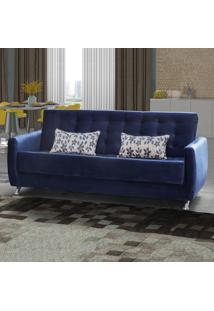 Sofá Cama 3 Lugares Elis 00512.0424254 Azul Com Floral/Veludo - Matrix