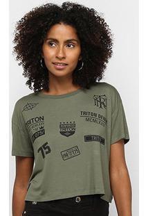 Camiseta Triton Logos Feminina - Feminino-Estampado