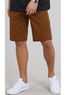 Bermuda De Sarja Masculina Slim Com Bolsos Caramelo
