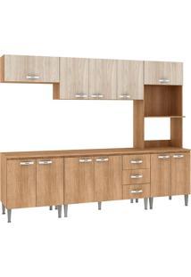 Cozinha Compacta Master Com Tampo Cm03T Carvalho/Blanche - Fellicci