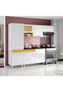 Cozinha Compacta Quadri 7 Pt Branco E Amarelo