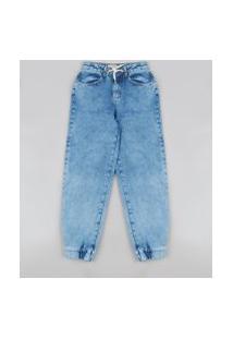 Calça Jeans Infantil Jogger Com Rasgos E Cordão Azul Médio