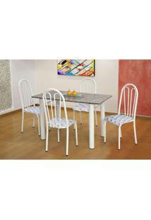Conjunto De Mesa Carla Com 4 Cadeiras Branca Capitonê