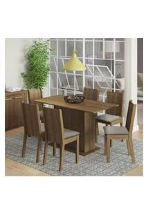 Conjunto Sala De Jantar Celeny Madesa Mesa Tampo De Madeira Com 6 Cadeiras Rustic/Floral Hibiscos