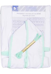 Roupão Com Capuz Para Bordar Bebenet Branco Viés Verde