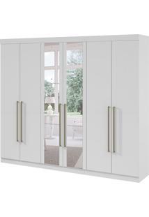 Guarda-Roupa Casal Com Espelho Castellaro 6 Pt 6 Gv Branco