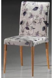 Cadeira Flox Cor Nogal Tecido Chenile Floral Roxo - 23006 - Sun House