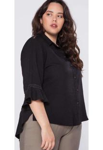 Camisa Almaria Plus Size Garage Viscose Renda Pret