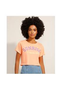"""Camiseta Cropped """"Sunrise"""" Manga Curta Decote Redondo Coral"""