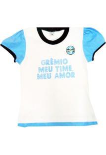 Baby Look Reve D'Or Sport Glitter Grêmio Branca, Azul E Preta