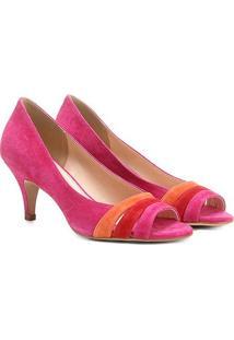 Peep Toe Couro Shoestock Salto Fino Colors - Feminino