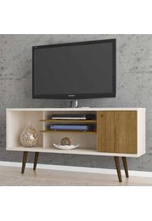 Rack Para Tv Até 55 Polegadas Safira 1 Porta Off White/Cinamomo - Móveis Bechara