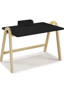 Mesa Escrivaninha Com Porta Objetos Ringo 1031 Natural/Preto - Maxima