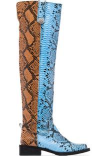 Ganni Bota Over-The-Knee Com Estampa Pele De Cobra - Azul