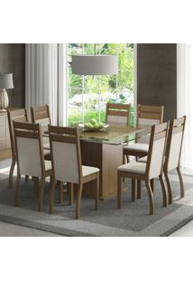 Conjunto Sala De Jantar Madesa Louise Mesa Tampo De Vidro Com 8 Cadeiras Marrom - Tricae