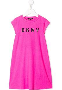 Dkny Kids Vestido Com Estampa De Logo - Rosa