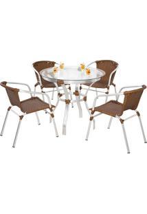 Conjunto Mesa Com 4 Cadeiras Joinville - Metal Do Brasil - Avela Envelhecido