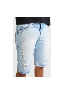 Bermuda Jeans Still Rasgada Masculino Azul Claro