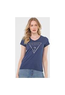 Camiseta Guess Logo Glitter Azul-Marinho