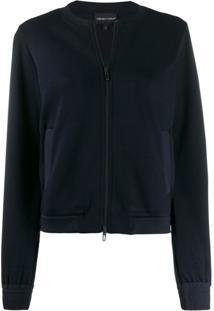 Emporio Armani Collarless Cropped Jacket - Azul