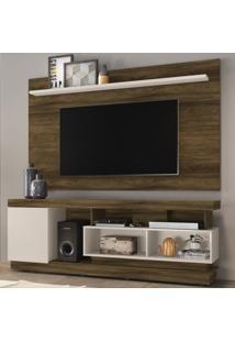 Rack Com Painel Para Tv Até 70 Polegadas Tijuca Enseada Canela Rústico/Off White - Colibri Móveis