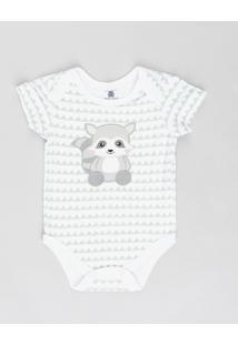 Body Infantil Guaxinim Estampado Geométrico Manga Curta Gola Careca Branco