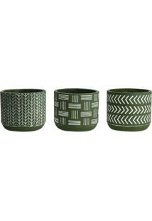 Jogo De Cachepot Geomã©Trico- Verde Militar & Branco-Mart