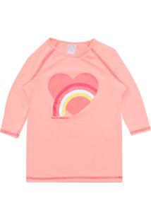 Camiseta Hering Kids Menina Coração Rosa