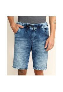 Bermuda Jeans De Moletom Masculina Relaxed Com Cordão Azul Médio