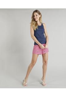 Pijama Feminino Com Bordado Navy Regata Azul Marinho