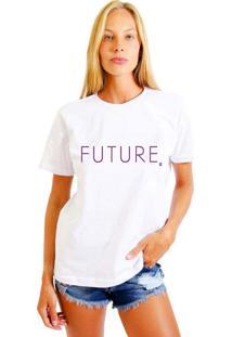Camiseta Feminina Joss Future Roxo Branco