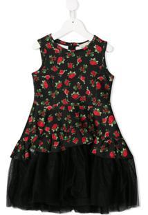 Monnalisa Vestido Com Estampa Floral - Preto
