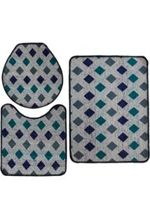 Jogo De Tapete Para Banheiro Pratik 3 Peã§As Mosaico Azul Oasis - Multicolorido - Dafiti