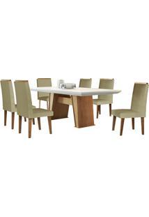 Sala De Jantar Florença 1.80M Com 6 Cadeiras Imbuia/Off White Turin Bege