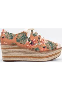 Sapato Feminino Flatform Floral Satinato