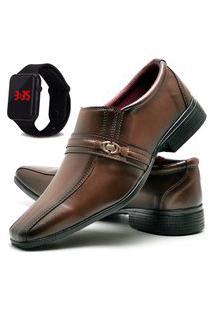 Sapato Social Glamour Com Relógio Led Dubuy 806Od Marrom