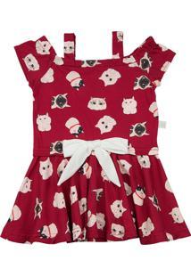 Vestido Ano Zero Infantil Malha Estampa Digital Gatinhos Com Lacinho Vermelho 3