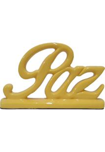 Estátua Decorativa Paz Amarela