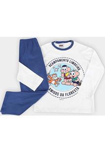 Pijama Longo Infantil Evanilda Turma Da Mônica - Masculino-Branco