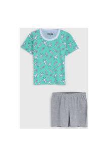 Pijama Tricae Curto Infantil Foguete Verde/Cinza