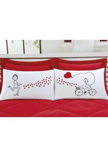 Fronhas Divertidas Amor Padrão Emoções Bicicleta De Corações Estampado Com 2 Peças - Aquarela - Kanui