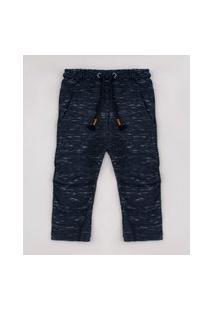 Calça Infantil Com Recortes E Cordão Azul Marinho