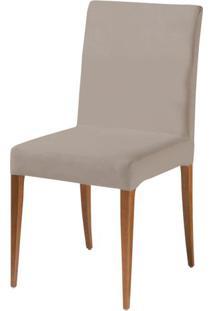 Cadeira Flox Assento Cor Bege Com Base Madeira Nogal - 46525 - Sun House