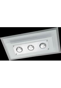 Plafon Saturno Aluminio E Vidro Pmr 137 Bordado Branco Bivolt