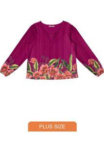 Blusa Feminina Estampa De Flores Rosa