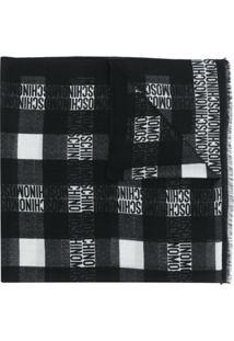 Moschino Cachecol De Lã Com Estampa De Logo - Preto