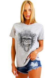 Camiseta Joss Básica Macaco Maluco Cinza Mescla