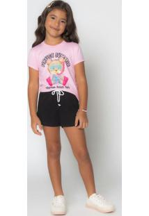 Conjunto Blusa Com Short Rosa